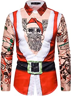 Men Fake Two Pieces Tie Casual Snowflakes Muscle Printed Christmas Lapel Shirt Tops
