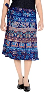 Women's Cotton Printed Knee Length Regular Wrap Around Skirt (W24NT_0002)