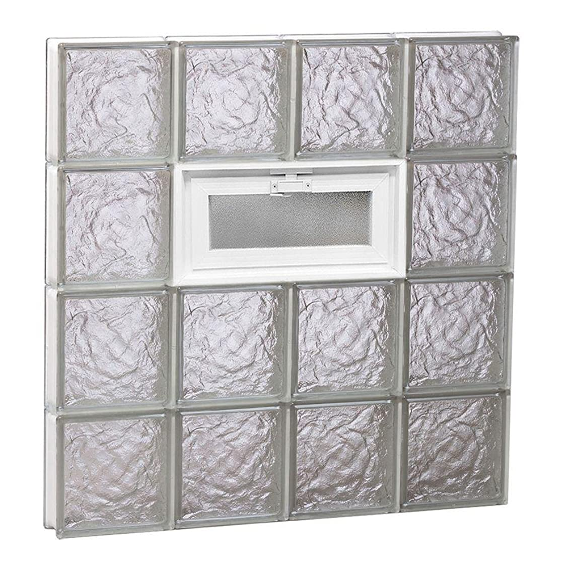 Clearly Secure 31 in. x 31 in. x 3.125 in. Frameless Ice Pattern Vented Glass Block Window