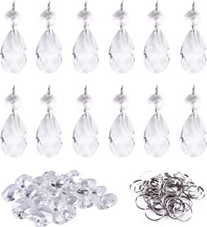 BIHRTC 12Pcs38mm Clear Crystal Teardrop Chandelier Prisms Parts Hanging Galss Crystal Pendants Beads +50pcs Metal Split Ring + 50pcs 14mm Octagonal Beads