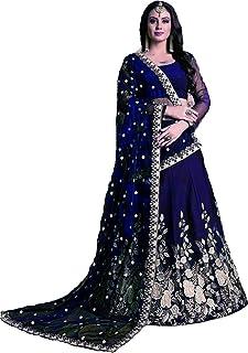 ba17f02e47 Bhurakhiya women's Embroidered multi colour Semi Stitched lehengas, lehenga  choli (Blue_JK2,FreeSize)