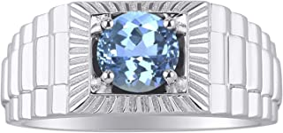 RYLOS 14K White Gold Gorgeous 7MM Round Shape Gemstone Ring Color Stone Set - Designer Style Birthstone Rings
