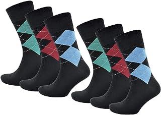 Thingimijigs, Pack de 6 pares de calcetines de algodón Argyle con parte superior elástica ligera para hombres