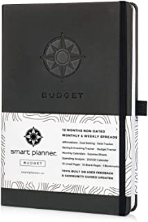 """Budget Planner - Smart Planner Bill Organizer - Tested and Proven to Help Achieve Financial Success. Premium 8.3 x 5.8"""" Hardcover Budget Planner Organizer Undated. (Black)"""