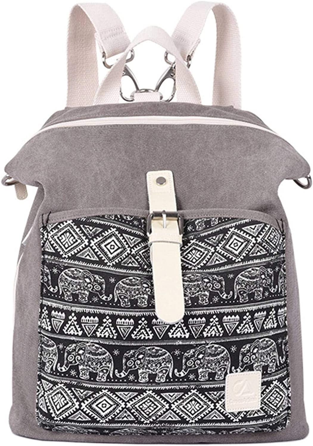 NC Woman Canvas Backpack Ethnic Style Flower Embroidery Girl School Bag Fashion Simple Lady Travel Bag