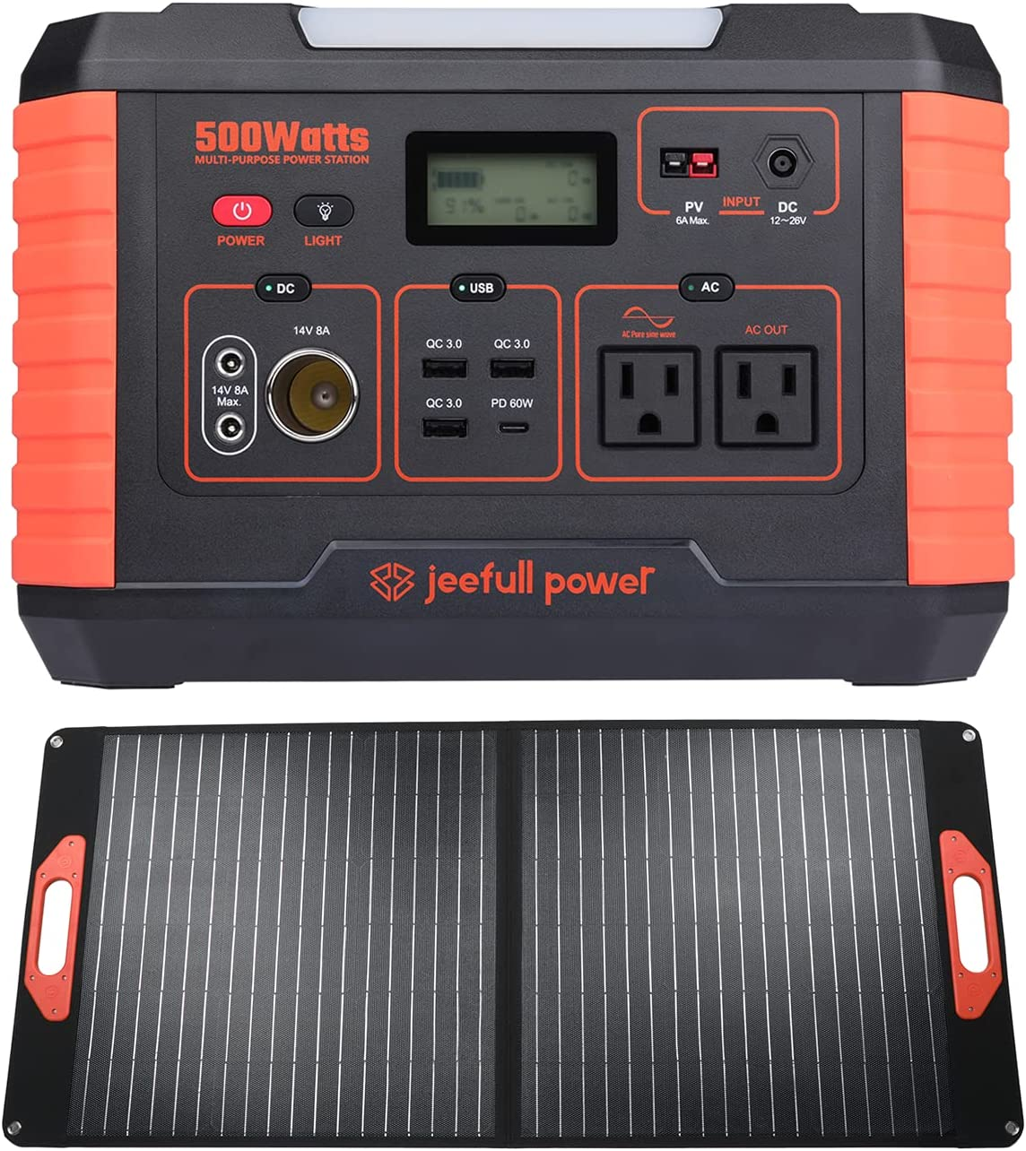 Jeefull Rapid rise Power Portable Station with 500W 519W Tucson Mall Solar Panel