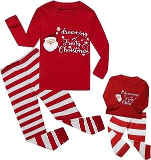 Girls Matching Doll&Toddler 4 Piece Long Cotton Christmas Pajamas Kids PJS