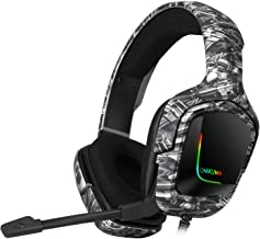 K20 Camo Grey Gaming Headset with Surround Sound PS4 Headphones with Mic Works with Xbox One PC,RGB Lightweight Soft Earmu...