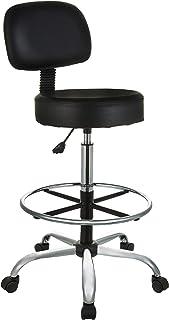 AmazonBasics Multi-Purpose Adjustable Drafting Spa Bar Stool with Foot Rest and Wheels - Black, BIFMA Certified