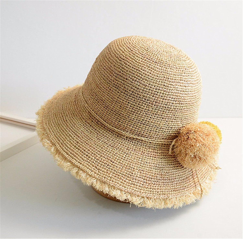 YMFIE Hochwertige handgefertigte Strohhut Beach Resort's Sonnenschutz Sonnenschutz Hut Dame Faltbare Cap Fisherman's Hut