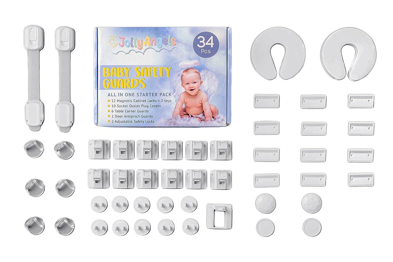34PCS JollyAngels Baby Limited price sale Proofing Sale item Kit Cabinet Magnetic C Locks