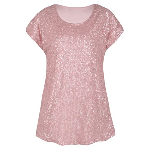 64474064fd PrettyGuide Women s Sequin Top Shimmer Glitter Loose Bat Sleeve Party Tunic  Tops