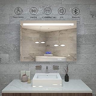 KAASUN Led Bathroom Vanity Mirror with Bluetooth Clock 32 x 24 Inch Wall Mounted Backlit Mirror with Led Light Horizontal ...
