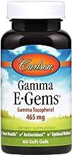 Carlson - Gamma E-Gems, Gamma Tocopherol 465 mg, Heart Health & Optimal Wellness, Antioxidant, 60 Soft gels