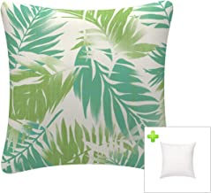 FBTS Prime Outdoor Decorative Pillows with Insert Green Leaf Patio Accent Pillows Throw Covers 18x18 Inches Square Patio C...