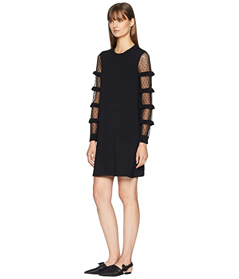 RED VALENTINO Stretch Viscose Yarn Point D'Esprit and Ruffles Dress