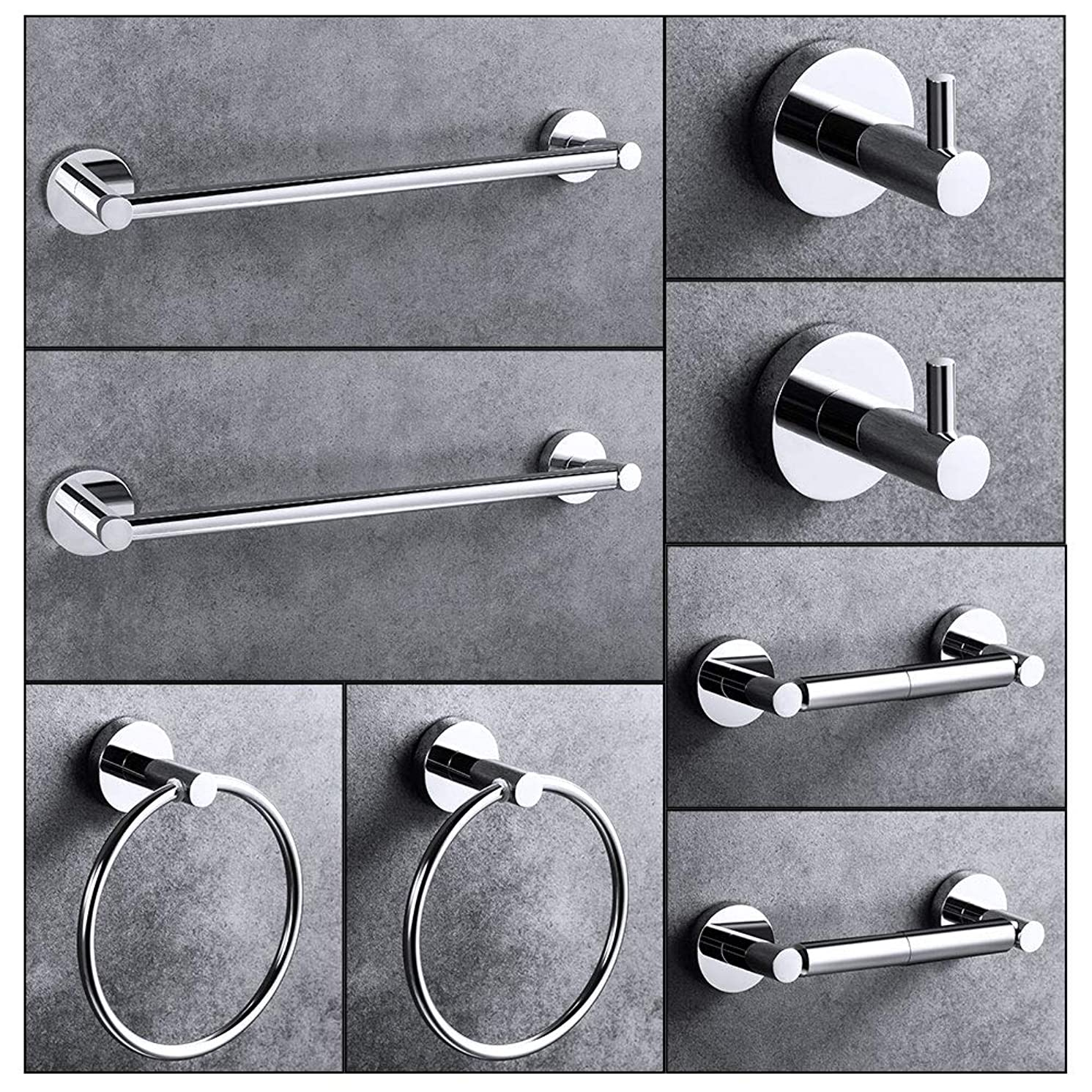 """LUCKUP 8 Piece Bathroom Accessory Set, Towel Bar Set, Include 2 x 24""""Towel Bar, 2 x Robe Hook, 2 x 6.6""""Towel Ring 2 x7""""Toilet Paper Holder, 304 Stainless Steel Wall Mounted,Polished Chrome …"""