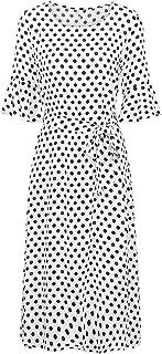 Polka Dot Loose Dress O Neck Tie Waist Flare Half Sleeve Plus Size Summer Dress