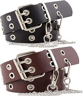 Women Double-Grommet-Belt Pu Leather Waist-Belt Buckle - Vintage Black Double Grommet Belt Punk with Chains Adjustable