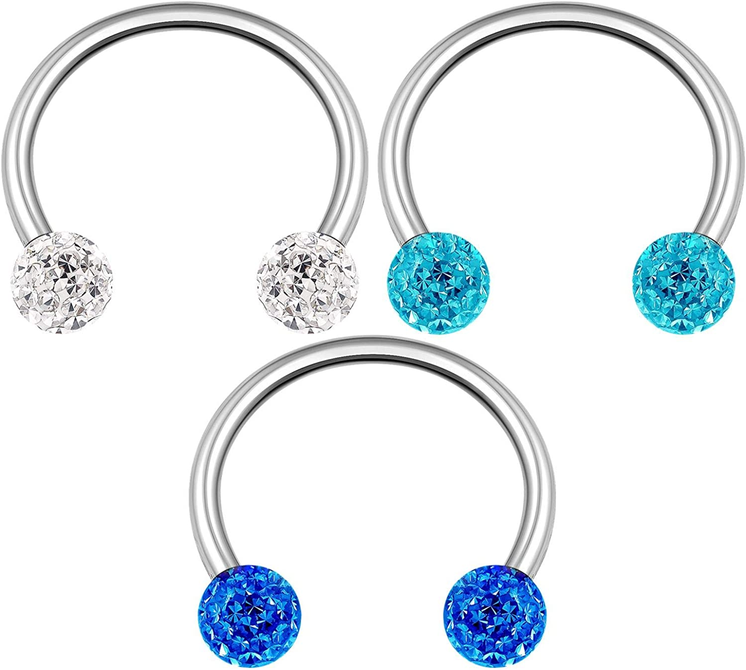 3PCS Stainless Steel Horseshoe Ring 16 Gauge 3mm Crystal Ball Snake Bite Rook Earrings Septum Piercing Jewelry See More Sizes