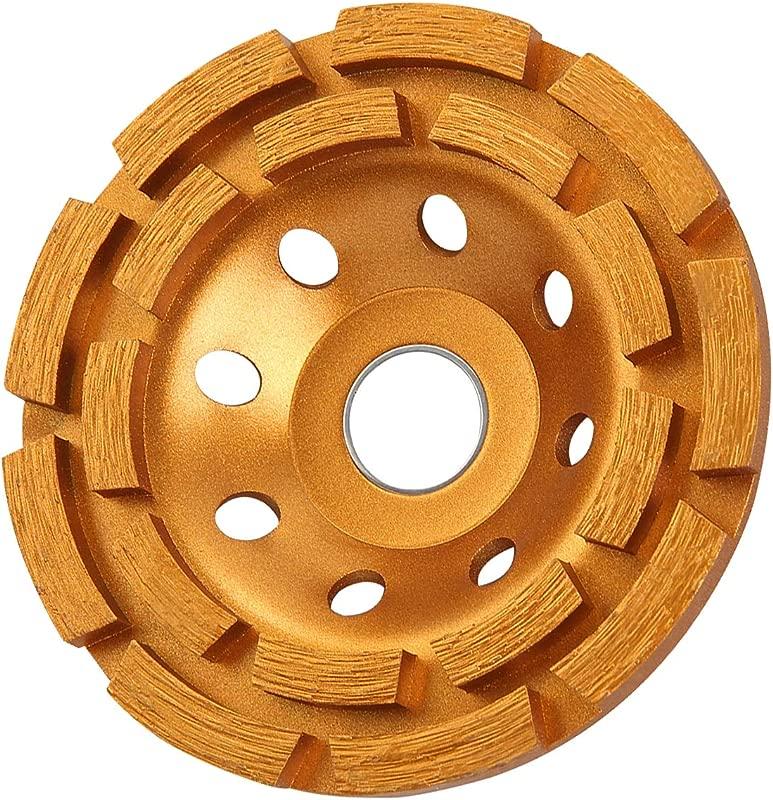 KSEIBI 644030 4 1 2 Inch Double Row Diamond Cup Grinding Wheel Gold
