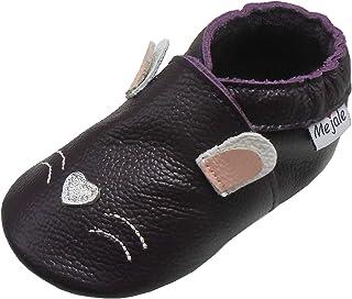 Mejale Chaussons en cuir pour bébé Infant Crawling - Pour enfant - Marron - Blanc - Violet - Bleu marine