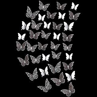 Decorazione a Farfalla Vuota con Struttura Metallica e Decalcomanie a Farfalla Effetto Specchio per Camera Argento Decorazioni da Parete Farfalla 3d Decorazioni per Feste 36 Pezzi