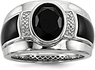 .016 Ctw (I-J Color, I2-I3 Clarity) Diamond & Oval Black Onyx 13mm Tapered Ring in Sterling Silver