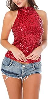 Women's Shimmer Flashy All Sequins Embellished Sparkle Vest Tank Tops