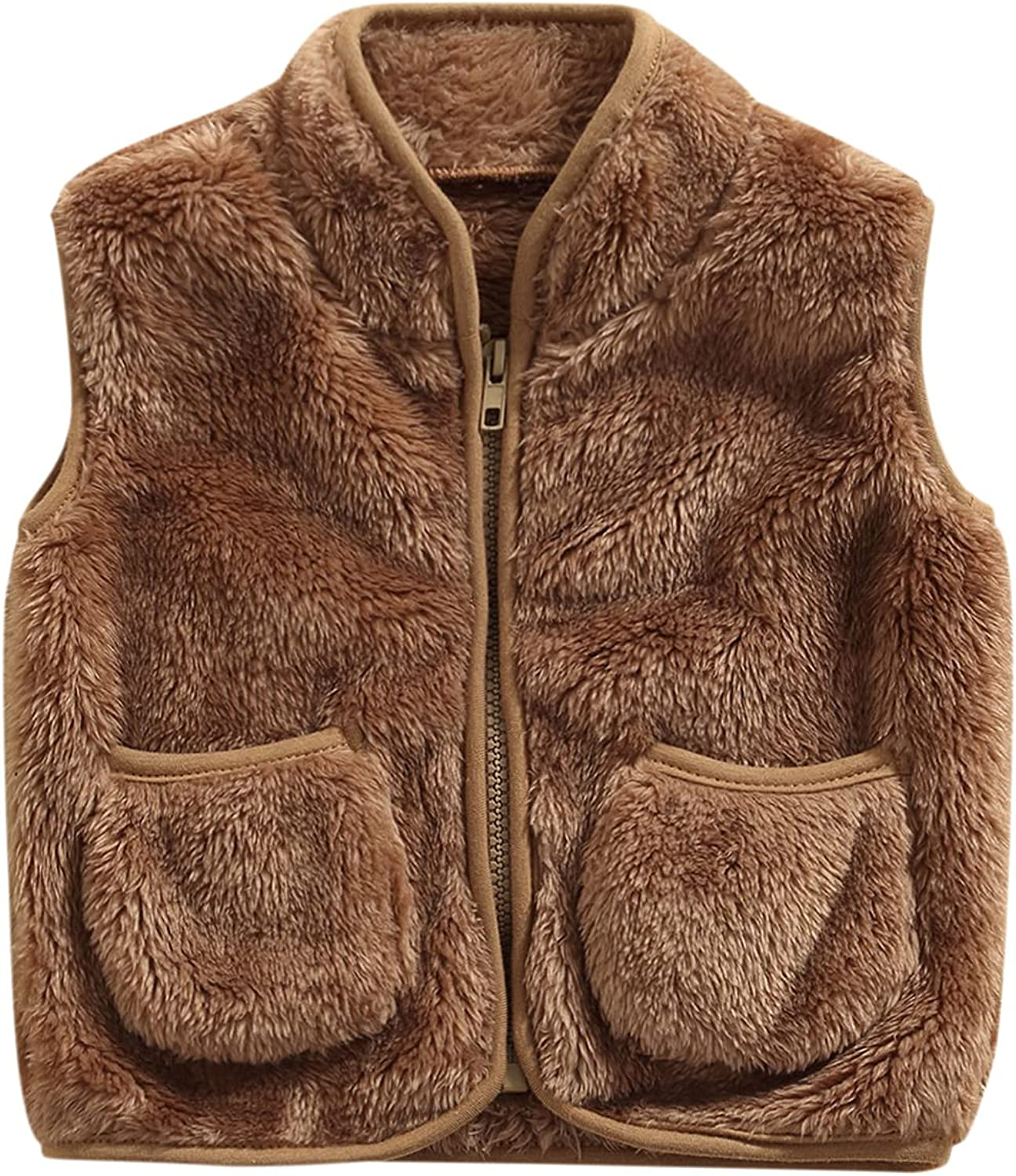 specialty shop Toddler Baby Boys Girls Plush Special Campaign Vest Solid Faux Sleeveless F Color