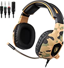 SADES SA818 Gaming Headset for New Xbox One PS4 PC Laptop, 3.5mm Over Ear Gaming Headphones with Mic and Volume Control for Nintendo Switch Games, Camouflage