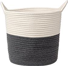 Panier à linge en corde de coton tissé - Panier à linge pour jouets - Grand panier à linge en osier avec poignée - 27,9 x ...
