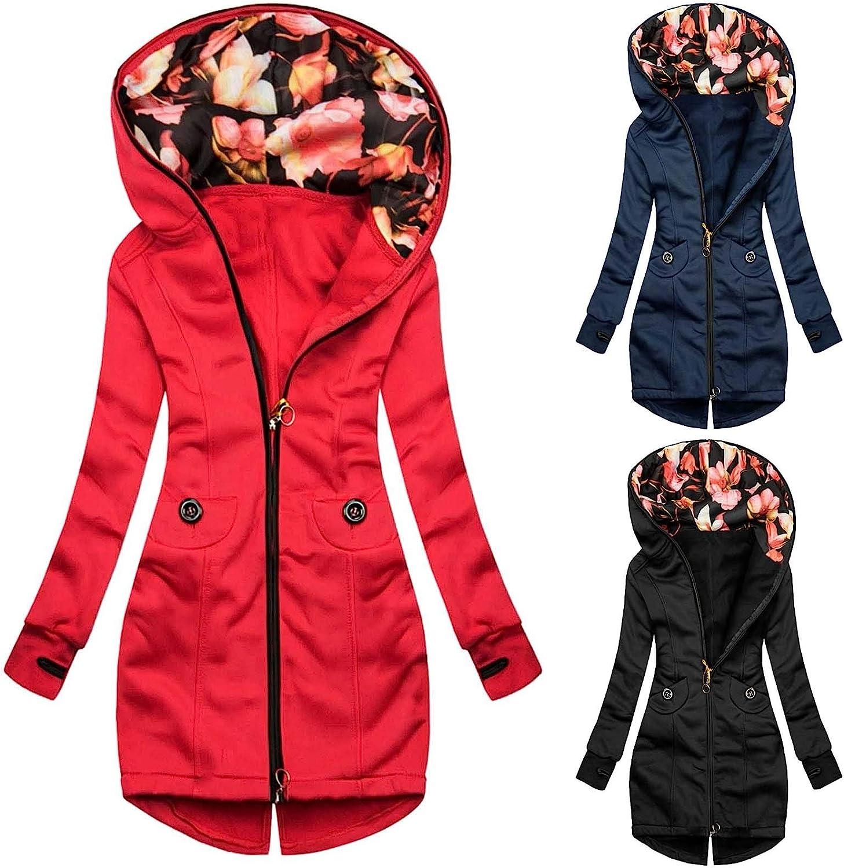 Chejarity Damen Sweatjacke Zip Hoodie Oberteile Kapuzenpulli Basic Einfarbig/Farbblock Casual Herbst Winter Pullover Sweatshirt Jacke Marine-5