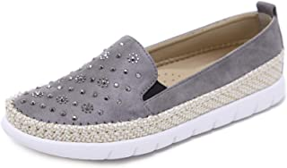 Morbuy Espadrilles for Women Ladies, Casual Slip On Shoes Sneakers Flat Pumps Rhinestone Hemp Rope Style for Holiday Travel Walking Driving Comfortable