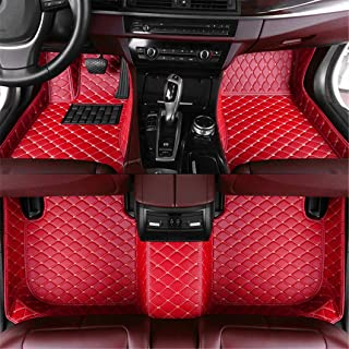 Car Floor Mats for Fiat 500 2011-2012 Hatchback Full Covered Advanced Leather Carpet Auto All Weather Protection Front & Rear Liner Set Red