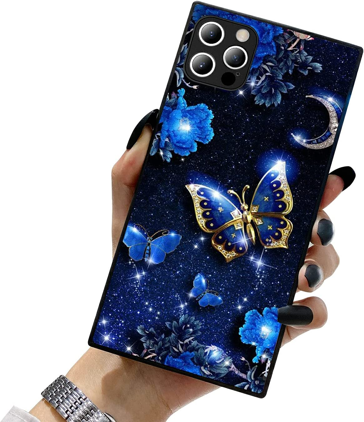 ZhuxuxiTT Compatible with iPhone 12 Case Square,Elegant Blue Butterfly iPhone 12 Pro Cases for Girls Women,Fashion Pattern Hard PC Back&Soft TPU Bumper Frame Support Case for iPhone 12/12 Pro