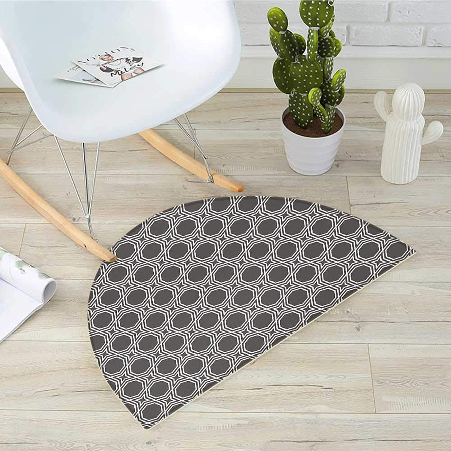 Geometric Semicircular CushionOctagons with Star Pattern Monochrome Arabic Culture Ethnic Illustration Entry Door Mat H 39.3  xD 59  Charcoal Grey White