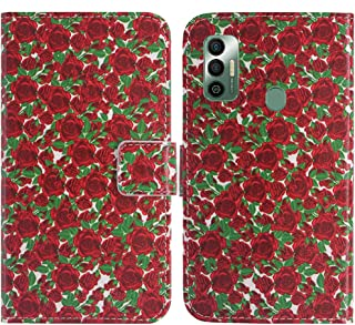 TienJueShi Rosa Flower Fashion Stand TPU Silicone Book Stand Flip PU Leather Protector Phone Case For Tecno Spark 7 Pro 6....