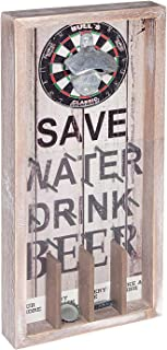 Liry Products Vintage Rustic Wall Mount Beer Bottle Opener Wood Plaque Pinball Table Arcade Game Cap Catcher Holder Retro Decor Bar Restaurant Home Kitchen