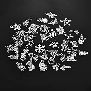 LANBEIDE 50PCS Assorted Charms Wholesale Mixed Halloween Christmas Charms Pendants for Jewelry Making and Crafting DIY Necklace Bracelet Earrings