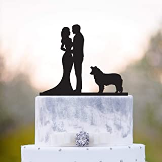 Wedding Cake Topper With Dog Border Collie Border Collie Cake Topper Cake Topper Dog Topper With Dog Collie Wedding Cake Topper