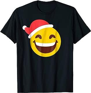 Xmas Gift Smiley Face Santa Hat Emoji Christmas Pajama Shirt