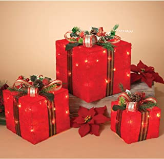 Set of 3 Lighted Holiday Red Sisal Gift Boxes - Tabletop Christmas Decoration