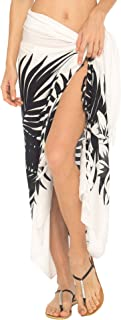 SHU-SHI Womens Beach Swimsuit Cover Up Palm Tree Sarong Wrap with Coconut Clip