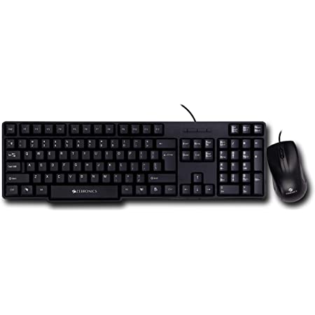 Zebronics Wired Keyboard and Mouse Combo with 104 Keys and a USB Mouse with 1200 DPI - JUDWAA 750