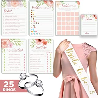Floral Bridal Shower Games – Set of 6 (50 Cards Each) w/ Bride to Be Sash & 25 Adjustable Silver Diamond Engagement Rings – Luxury Pre-Wedding Party Favor Accessories