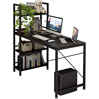 4NM Computer Desk with 4-Tier Bookshelf, 47 inches Home Office Desk Writing Workstation Study Table Multipurpose Space-Saving Desk - All Black