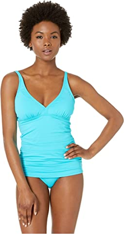 Pearl Over the Shoulder V-Neck Long Tankini