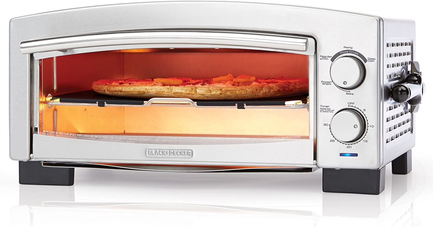 BLACK+DECKER P300S 5-Minute Pizza Oven & Snack Maker, Toaster Oven, Stainless Steel, Silver