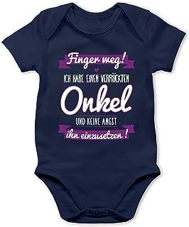 Shirtracer Sprüche Baby - Ich Habe einen verrückten Onkel lila - Baby Body Kurzarm für Jungen und Mädchen
